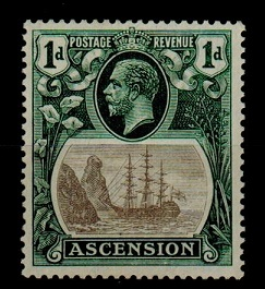 ASCENSION - 1924 1d fine mint with BROKEN MAST variety.  SG 11a.