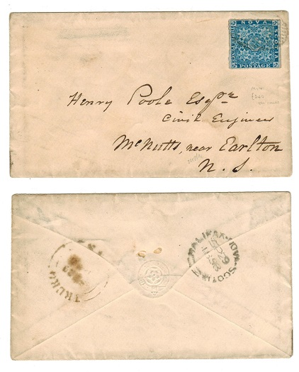 CANADA (Nova Scotia) - 1858 cover to USA with 3d used at HALIFAX.