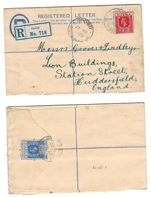 NIGERIA - 1914 2d RPSE (size G) to UK used at OPOBO/SOUTHERN NIGERIA.  H&G 1.