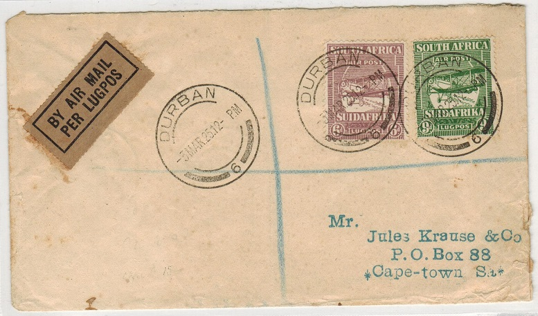 SOUTH AFRICA - 1925 registered first flight cover to Cape Town from Durban with
