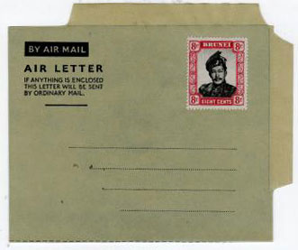 BRUNEI - 1952 FORMULA air letter uprated with 8c adhesive.