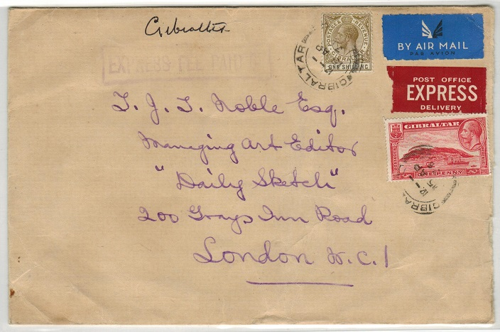 GIBRALTAR - 1936 EXPRESS FEE PAID/6d cover to UK.