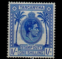TANGANYIKA - 1938 1/- blue STAMP DUTY mint.