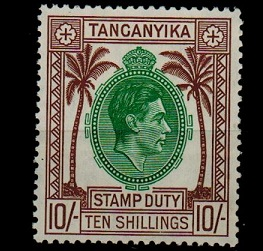 TANGANYIKA - 1938 10/- brown STAMP DUTY mint.