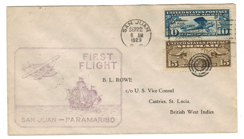 ST.LUCIA - 1929 inward first flight cover from Porto Rico to Castries.