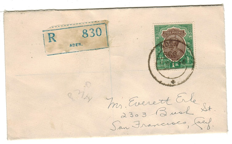 ADEN - 1936 1r rate registered cover to USA used at ADEN.