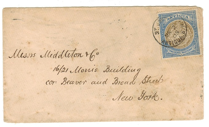 ANTIGUA - 1905 2 1/2d rate cover to USA used at ST.JOHNS.