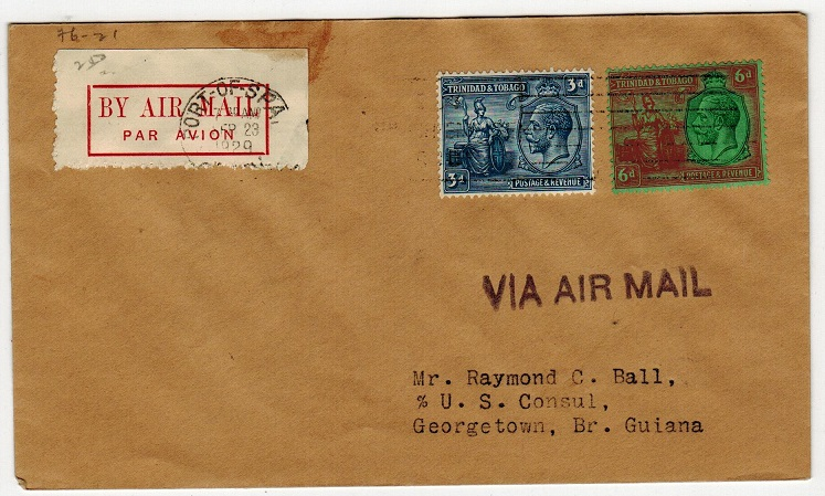 TRINIDAD AND TOBAGO - 1929 first flight cover to British Guiana.