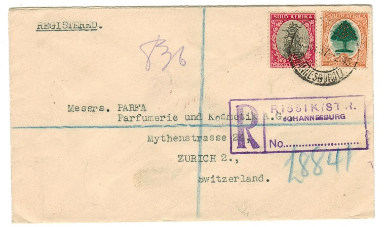 SOUTH AFRICA - 1937 registered cover to Switzerland used at RISSIK STREET.