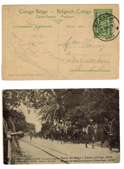 TANGANYIKA (Belgian Occupation) - 1912 5c PSC of Belgium used at B.P.C.V.P./No.1.  H&G 1.