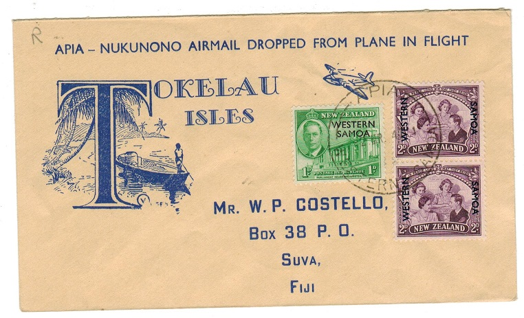 TOKELAU - 1947 (MR.2.) first flight cover to Fiji.