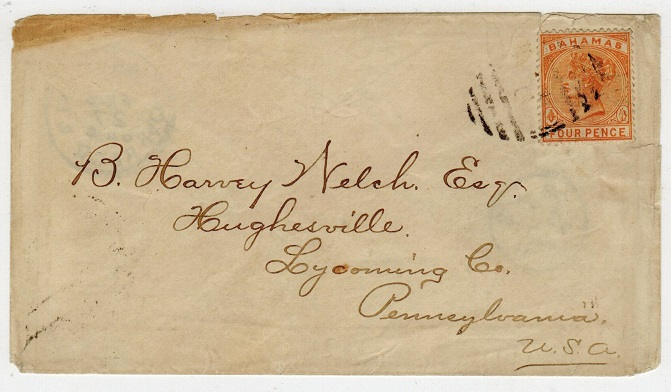 BAHAMAS - 1886 4d rate cover to USA cancelled by