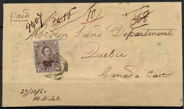 CANADA - 1860 registered FRONT with 10c