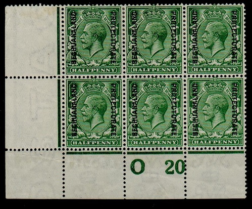 BECHUANALAND - 1913 1/2d green O 20 (P) mint control block of six.  SG 73.