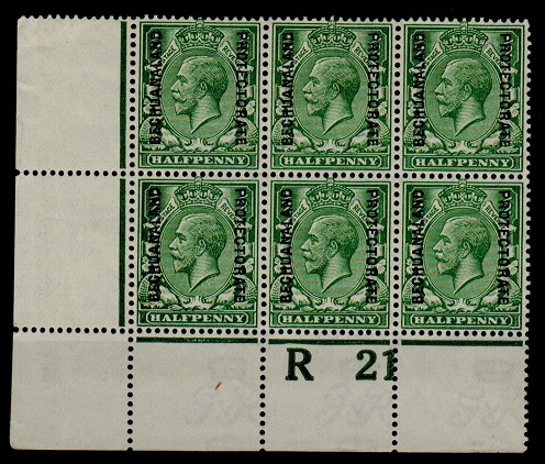 BECHUANALAND - 1913 1/2d green R 21 (P) mint control block of six. SG 73.
