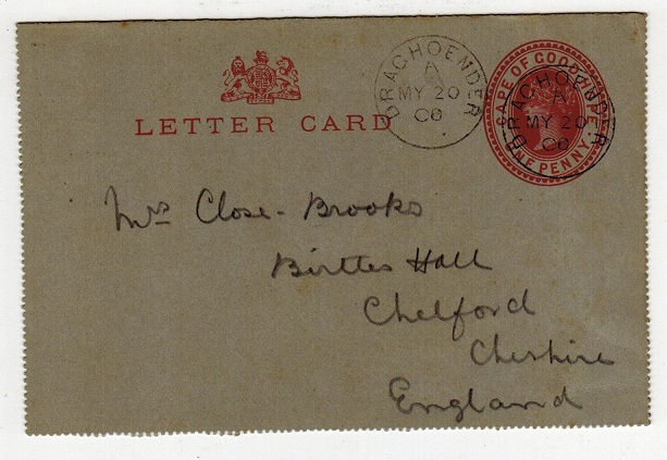 GRIQUALAND WEST - 1895 1d Cape stationery letter card to UK used at DRACHOENDER.  H&G 1.