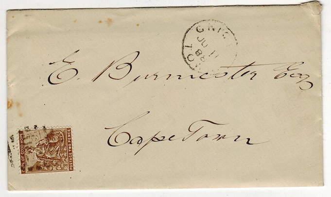 GRIQUALAND WEST - 1888 cover to Cape Town bearing Cape 2d tied