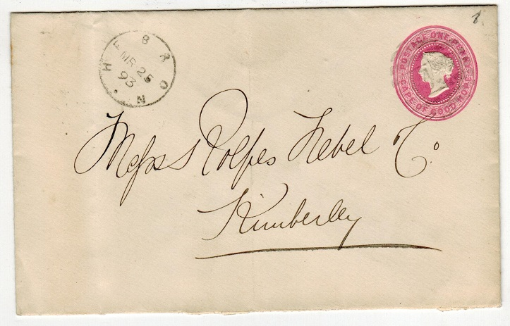 GRIQUALAND WEST - 1892 1d PSE of Cape to Kimberley used at HEBRON.  H&G 2a.