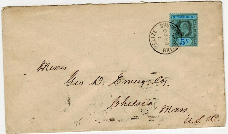 BRITISH HONDURAS - 1903 5c rate cover to USA used at BELIZE.