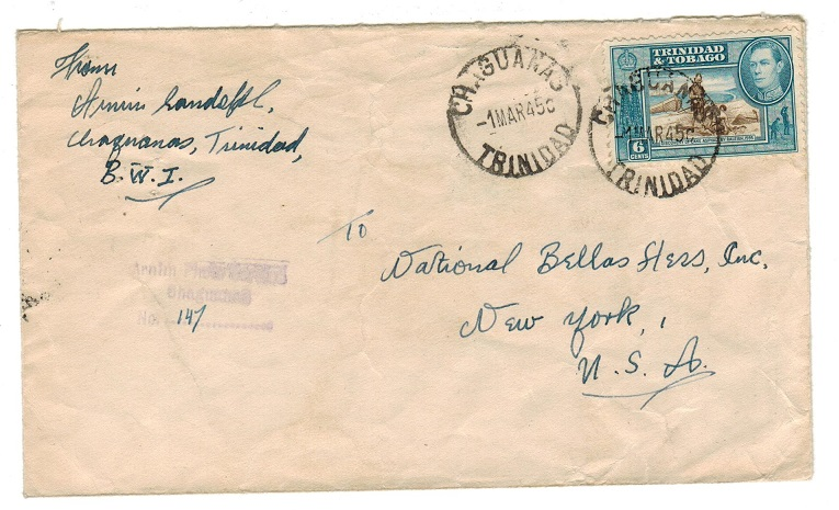 TRINIDAD AND TOBAGO - 1945 6c cover to USA used at CHAGUANAS.