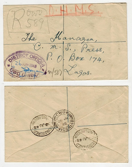 NIGERIA - 1948 stampless registered cover to Lagos used at OWO.