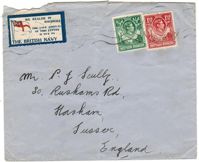 NORTHERN RHODESIA - 1940 (circa) cover to UK with tied patriotic THE BRITISH NAVY label.