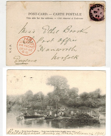 SIERRA LEONE - 1902 picture postcard with QV 1d tied FREETOWN.