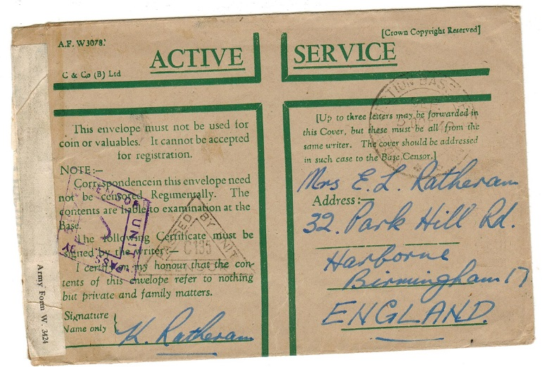 CEYLON - 1942 use of ACTIVE SERVICE green cross military envelope to UK with scarce