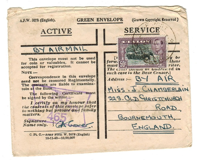 CEYLON - 1940 (circa) use of ACTIVE SERVICE green cross envelope to UK by RAF.