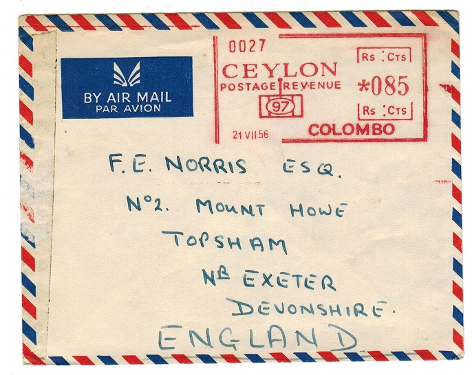 CEYLON - 1956 Rs0.85ct COLOMBO meter mark cover to UK.