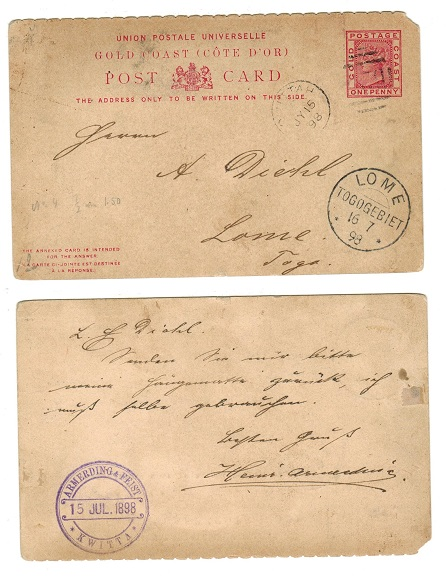 TOGO - 1898 inward 1d PSC from Gold Coast with LOME/TOGOGEBIET arrival cds.
