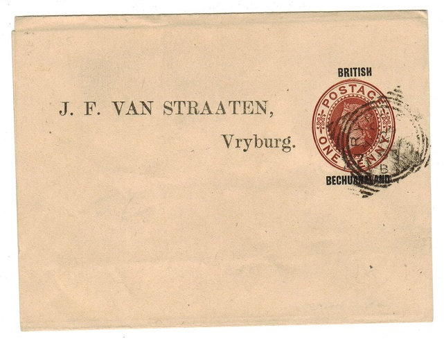 BECHUANALAND - 1886 1d postal stationery wrapper used locally from Vryburg.  H&G 4.