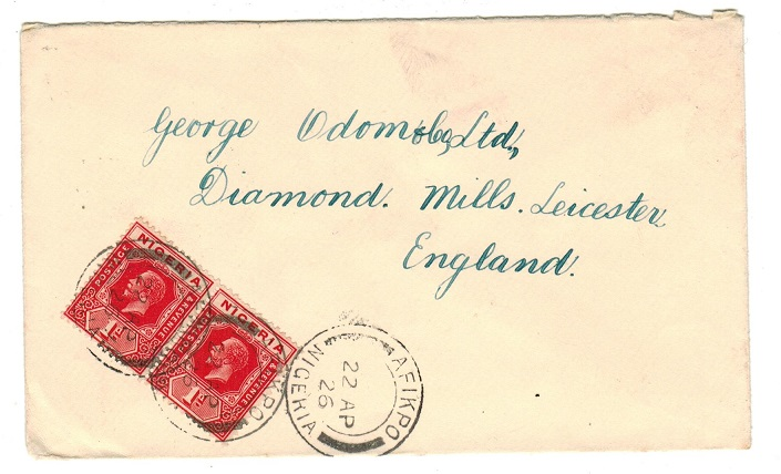 NIGERIA - 1926 2d rate cover to UK used at AFIKPO.