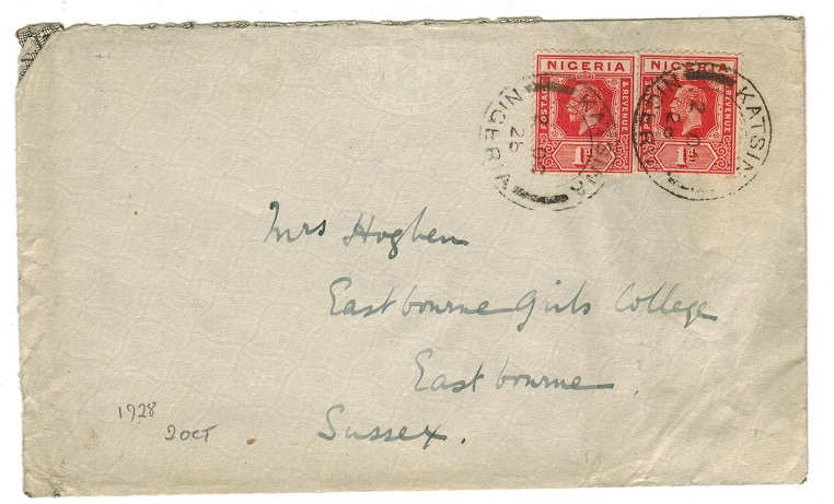 NIGERIA - 1928 2d rate cover to UK used at KATSINA.