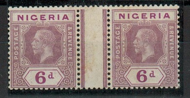 NIGERIA - 1914 6d dull and bright purple mint GUTTER MARGINAL pair.  SG 7.