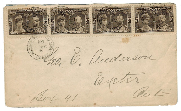 CANADA - 1908 1/2d Bicentenary strip of four on local cover used on NIAGRA FALLS railway line.