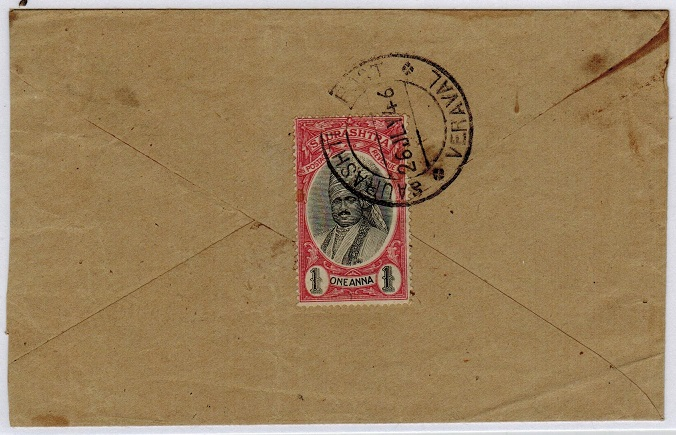 INDIA (Soruth) - 1946 local cover bearing 1a tied SAURASHTRA POST/VERAVAL.