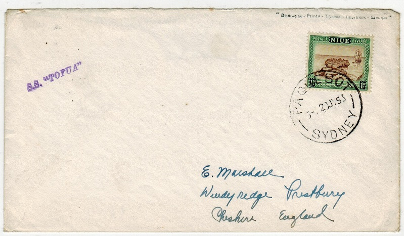 NIUE - 1953 S.S.TOFUA maritime cover to UK.