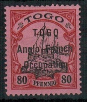 TOGO (German) - 1914 80pfg black and carmine on rose in fine mint condition.  SG H9.