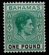 BAHAMAS - 1943 £1 blue-green and black in fine mint condition.  SG 157a.