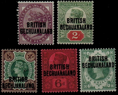 BECHUANALAND - 1891 1d to 1/- set of five unmounted mint.  SG 33-37.