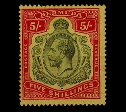 BERMUDA - 1920 5/- green and carmine red on yellow