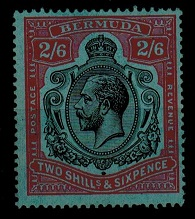 BERMUDA - 1927 2/6d black and red on blue