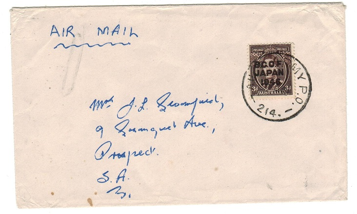 AUSTRALIA - 1948 cover to South Africa with 3d B.C.O.F. overprint used at ARMY P.O.214.