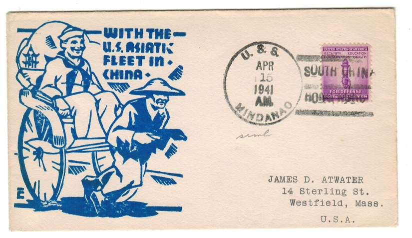 HONG KONG - 1941 illustrated US fleet envelope to USA used by