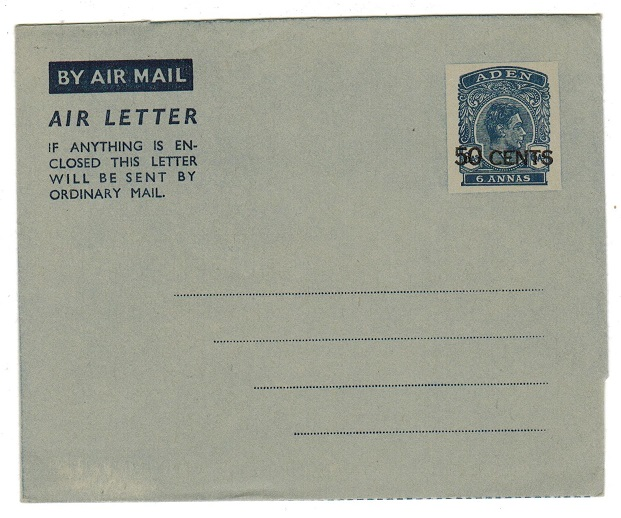 ADEN - 1952 50c on 6a postal stationery air letter unused.  H&G 3.