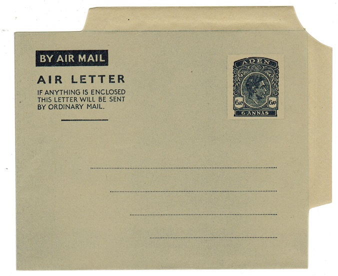 ADEN - 1949 6a postal stationery air letter unused with FRAME BREAK VARIETY.  H&G 1.