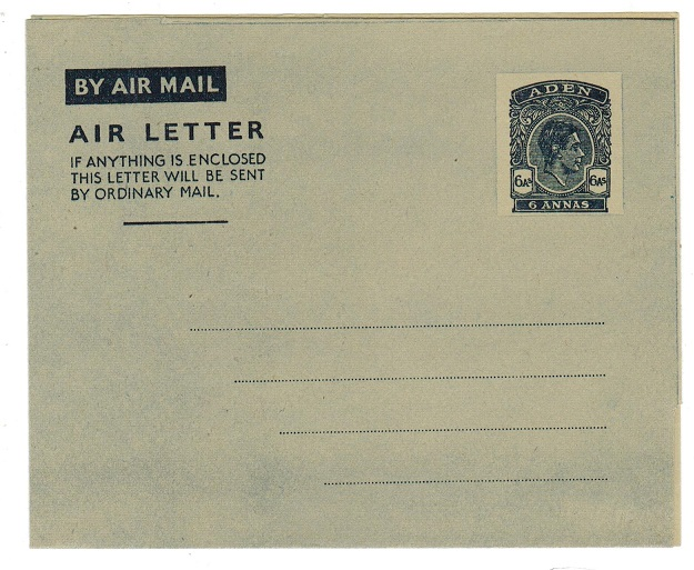 ADEN - 1949 6a postal stationery air letter unused.  H&G 1.