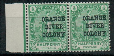 ORANGE RIVER COLONY - 1900 1/2d green U/M marginal pair with NO STOP variety.  SG 133a.