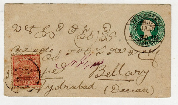 INDIA (Hyderabad) - 1883 1/2a PSE with Hyderabad 1/2a orange (SG 13b) combination use at UFZUGANJ.
